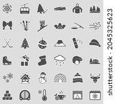 winter icons. sticker design.... | Shutterstock .eps vector #2045325623