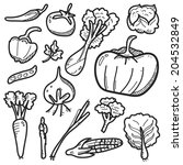 vegetable icon line drawing | Shutterstock .eps vector #204532849