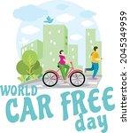 world car free day flat... | Shutterstock .eps vector #2045349959
