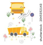 yellow truck front and side ... | Shutterstock .eps vector #2045352143