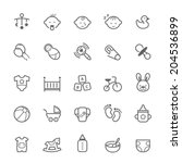 set of outline stroke baby icon ... | Shutterstock .eps vector #204536899