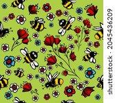 seamless cheerful background... | Shutterstock .eps vector #2045436209