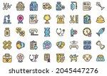 veterinary clinic icons set.... | Shutterstock .eps vector #2045447276