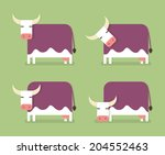 cow in four positions  cartoon... | Shutterstock .eps vector #204552463