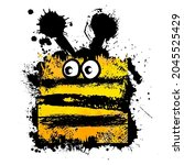 funny bee. child drawing .... | Shutterstock .eps vector #2045525429