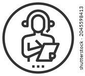 helpdesk line icon logo vector .... | Shutterstock .eps vector #2045598413