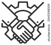 collaboration line icon logo... | Shutterstock .eps vector #2045598509