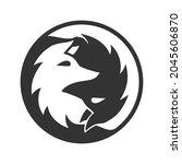 yinyang two fox logo flat... | Shutterstock .eps vector #2045606870
