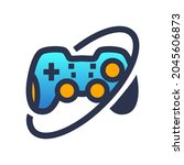 crossed orbit gamepad logo in... | Shutterstock .eps vector #2045606873