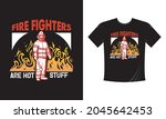 tshirt print with firefighters... | Shutterstock .eps vector #2045642453