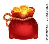 red golden coin money bag ...