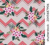 vector flower seamless pattern... | Shutterstock .eps vector #2045687906