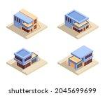 isometric modern house flat...   Shutterstock .eps vector #2045699699