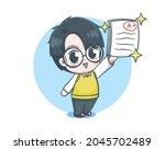 cute teacher boy cartoon...   Shutterstock .eps vector #2045702489