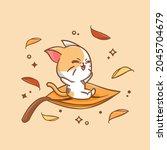 cute cat ridding a leaf in...   Shutterstock .eps vector #2045704679