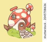 cute mushroom house cartoon...   Shutterstock .eps vector #2045708636