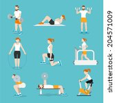 people training exercise bikes... | Shutterstock .eps vector #204571009