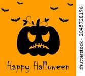 happy halloween banner or party ...   Shutterstock .eps vector #2045728196