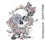 skull and flowers butterflies... | Shutterstock .eps vector #204579580