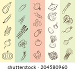 set of vector icons on the... | Shutterstock .eps vector #204580960