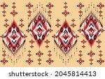 ikat seamless pattern...   Shutterstock .eps vector #2045814413