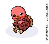 Cute Baby Turkey Cartoon Sitting