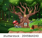 enchanted forest background... | Shutterstock .eps vector #2045864243