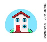 house vector in a simple and...   Shutterstock .eps vector #2045880503