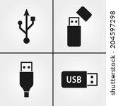 usb icons | Shutterstock .eps vector #204597298