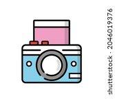 instant print camera in cartoon ... | Shutterstock .eps vector #2046019376