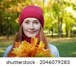 attractive red hair woman holds ... | Shutterstock . vector #2046079283