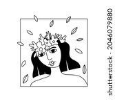 girl flower line portrait....   Shutterstock .eps vector #2046079880