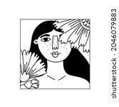 girl flower line portrait....   Shutterstock .eps vector #2046079883