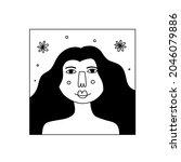 girl flower line portrait....   Shutterstock .eps vector #2046079886