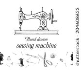 set of sewing accessories.... | Shutterstock .eps vector #204608623