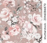 seamless floral watercolor... | Shutterstock . vector #2046086870