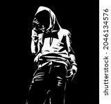 Stencil Urbex People Black And...