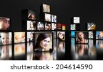 television screens on black... | Shutterstock . vector #204614590
