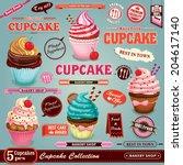 vintage cupcake poster set... | Shutterstock .eps vector #204617140