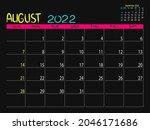 calendar 2022 year. august 2022 ...   Shutterstock .eps vector #2046171686