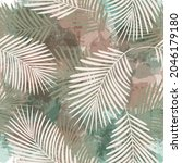 tropical pattern  palm leaves...   Shutterstock .eps vector #2046179180