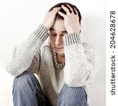 sad teenager portrait closeup...   Shutterstock . vector #204628678