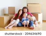 happy young family sitting on a ... | Shutterstock . vector #204634690