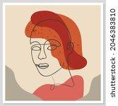 abstract woman portrait. vector ... | Shutterstock .eps vector #2046383810