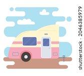 caravan trailer vehicle... | Shutterstock .eps vector #2046385979