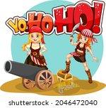 pirate girls cartoon character... | Shutterstock .eps vector #2046472040