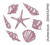 Set Of Seashells And Starfish....