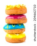 colorful delicious donuts... | Shutterstock . vector #204662710