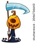 grim reaper pumpkin head... | Shutterstock .eps vector #2046736643