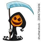 grim reaper pumpkin head... | Shutterstock .eps vector #2046736646